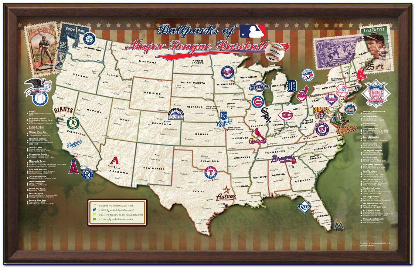 Major League Baseball Stadiums Map Poster