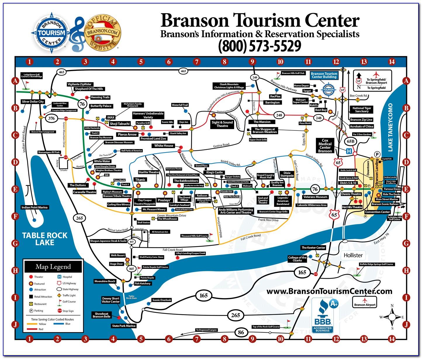 Map Branson Missouri Area