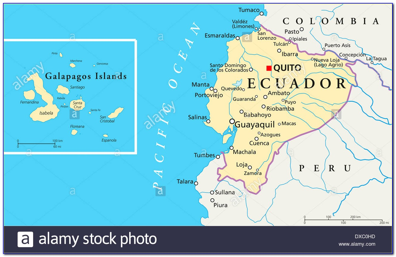 Map Ecuador South America Galapagos