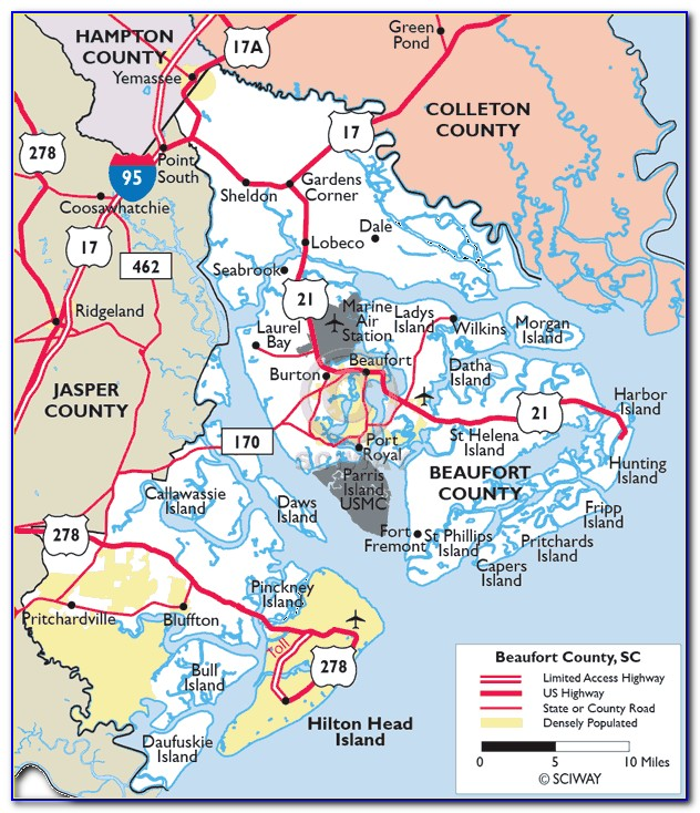 Map Of Beaufort Sc And Surrounding Area