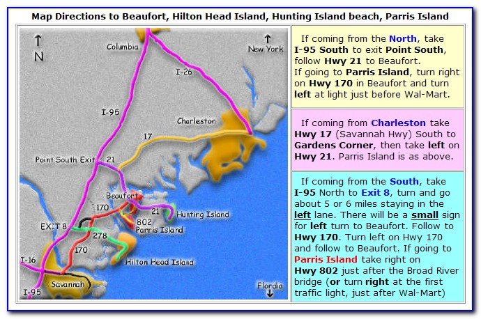Map Of Beaufort Sc And Surrounding Islands