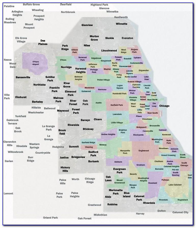 Map Of Chicago Neighborhoods Poster