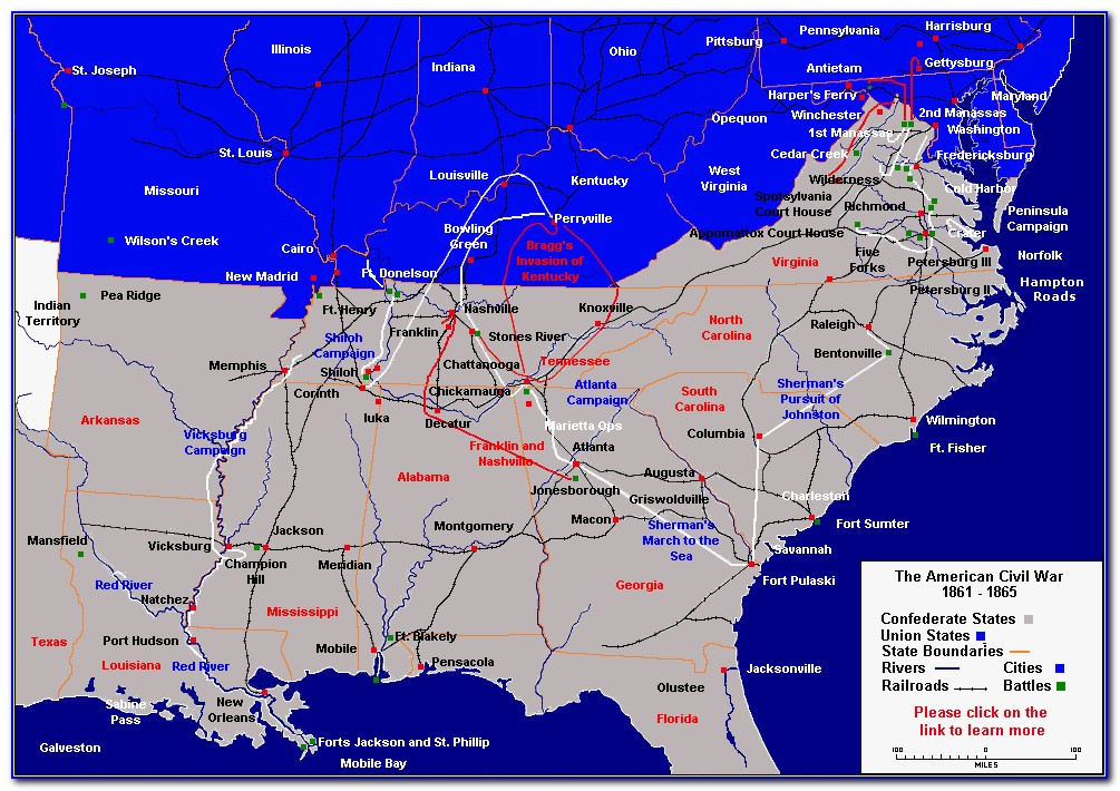 Map Of Civil War Battlefields In Tennessee
