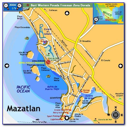 Map Of Downtown Mazatlan Mexico