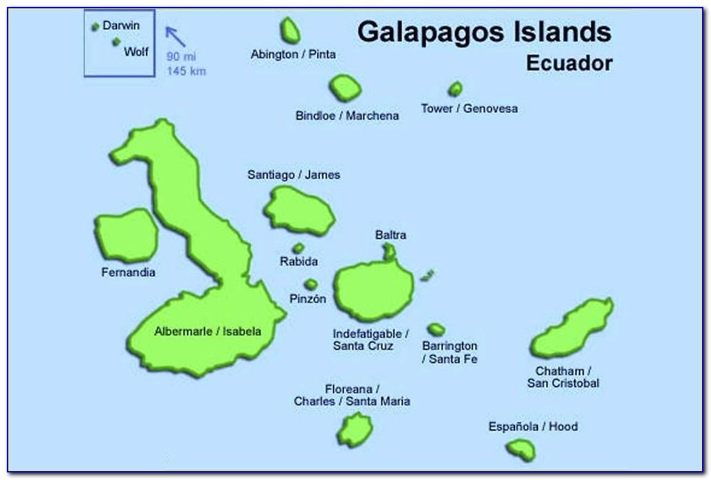 Map Of Galapagos Islands And Ekuador