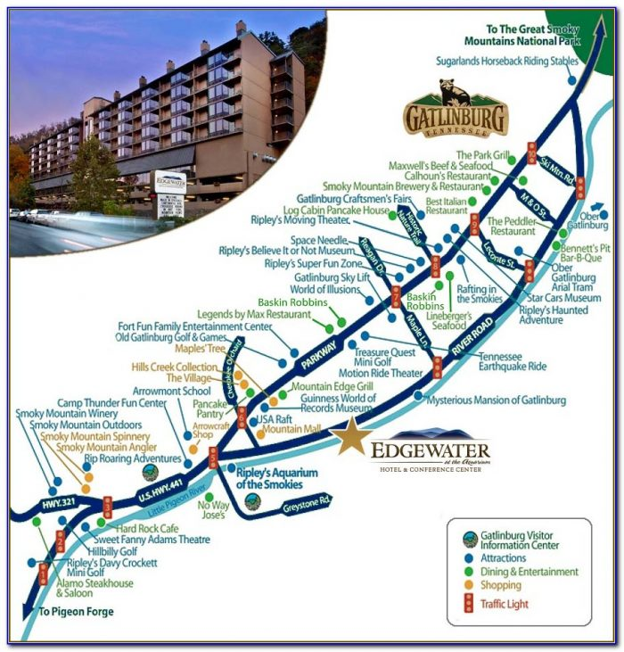 Map Of Gatlinburg Hotels And Attractions