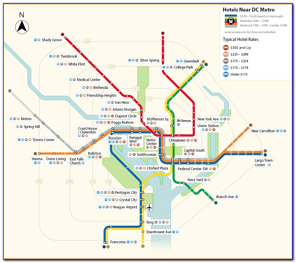 Map Of Hotels And Metro Stations In Washington Dc