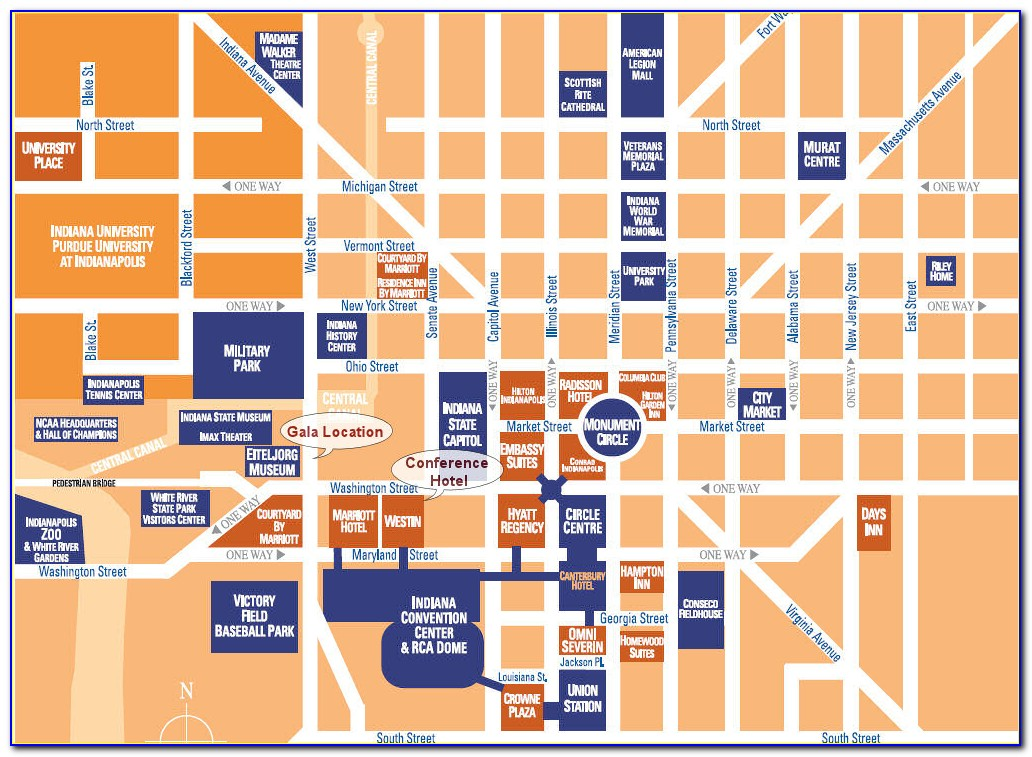 Map Of Hotels Downtown Indy