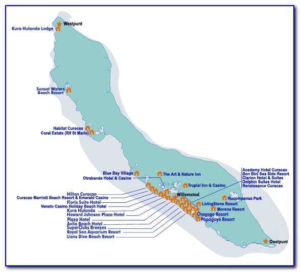 Map Of Hotels In Curacao