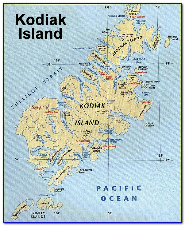 Map Of Kodiak Island Alaska
