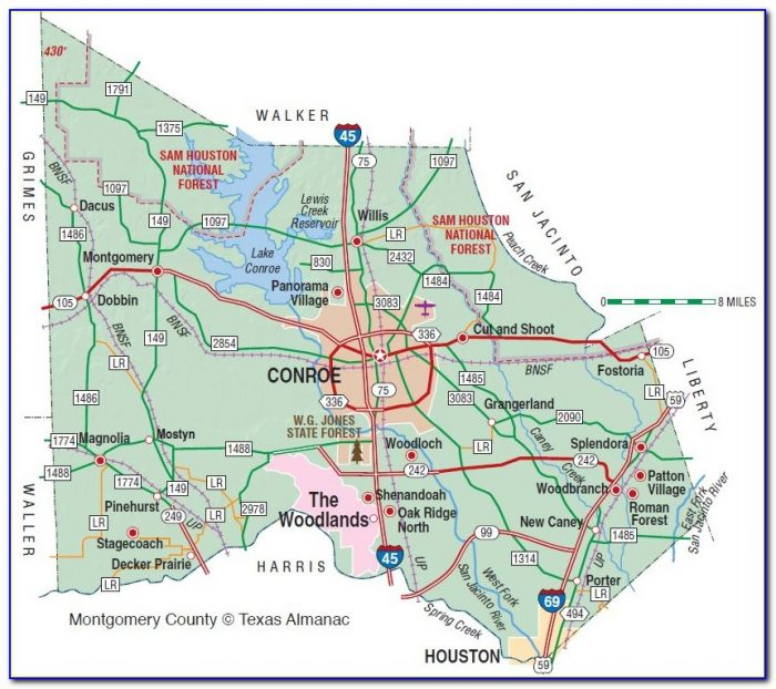Map Of Montgomery County Tx