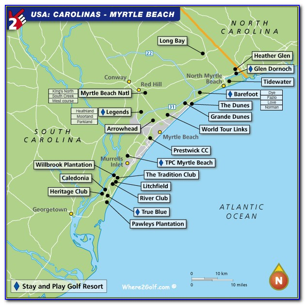Map Of Myrtle Beach Golf Courses