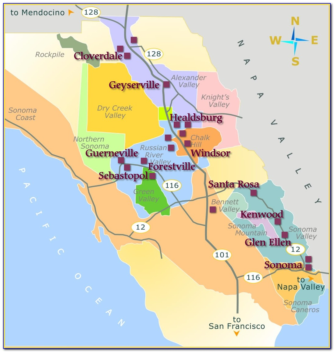 Map Of Napa Valley And Sonoma Wineries