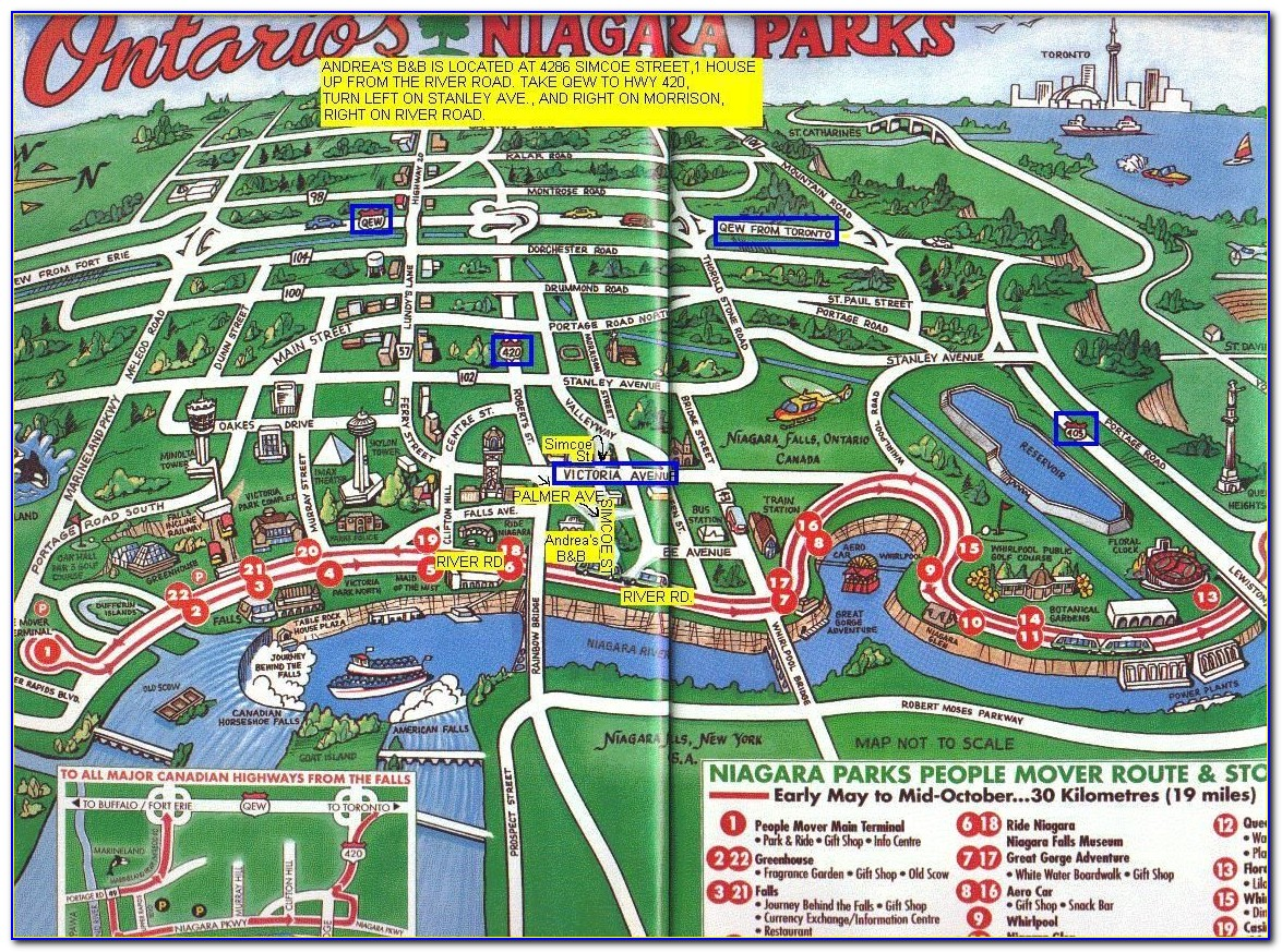 Map Of Niagara Falls Canada Hotels