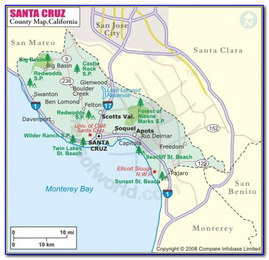 Map Of Santa Cruz County California