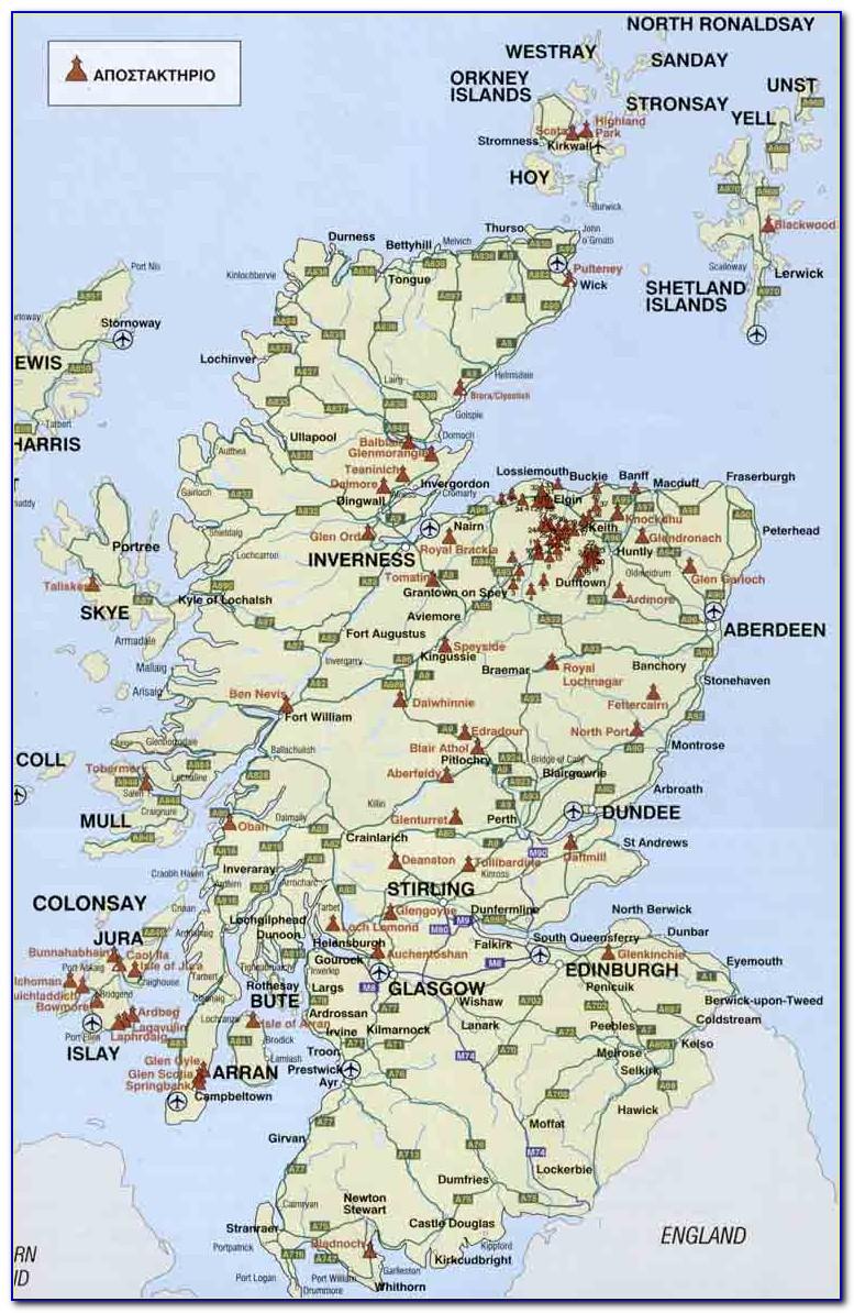 Map Of Scotch Whisky Distilleries Scotland