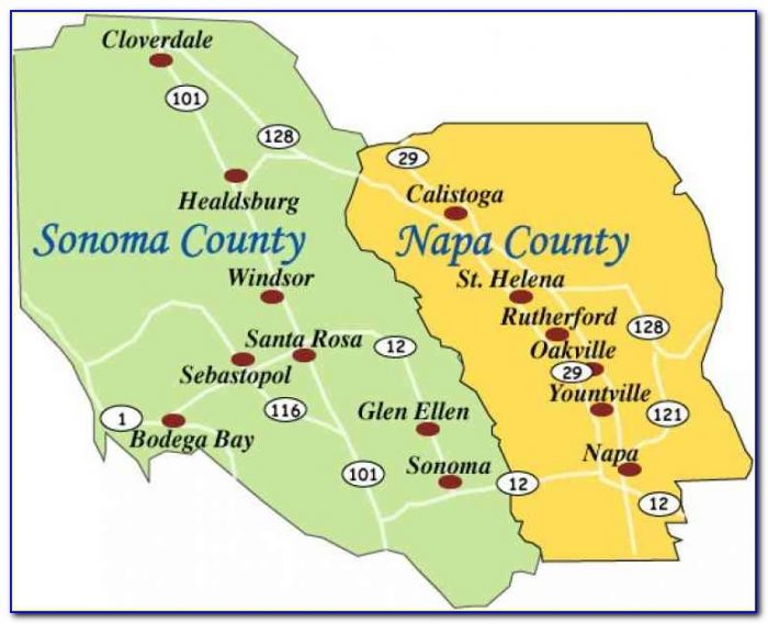 Map Of Sonoma County And Napa Valley