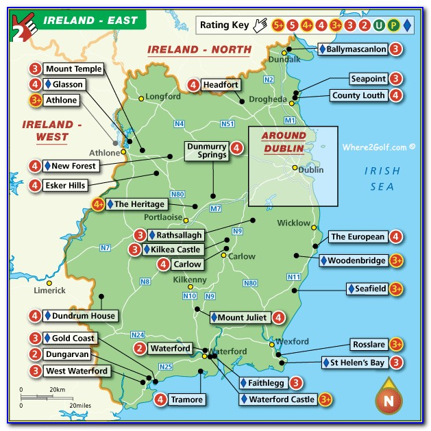 Map Of Sw Ireland Golf Courses