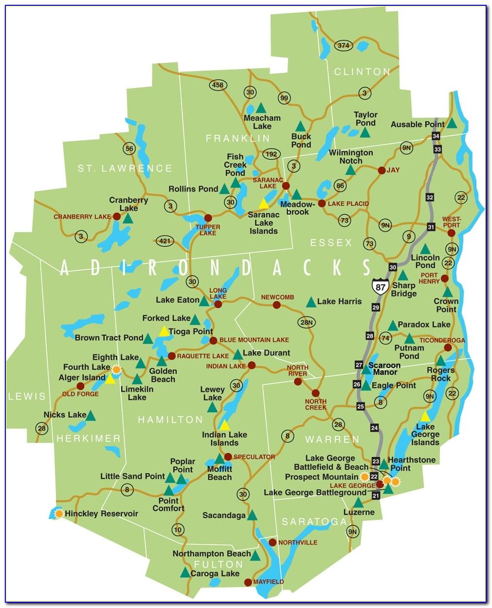Map Of The Adirondacks In New York