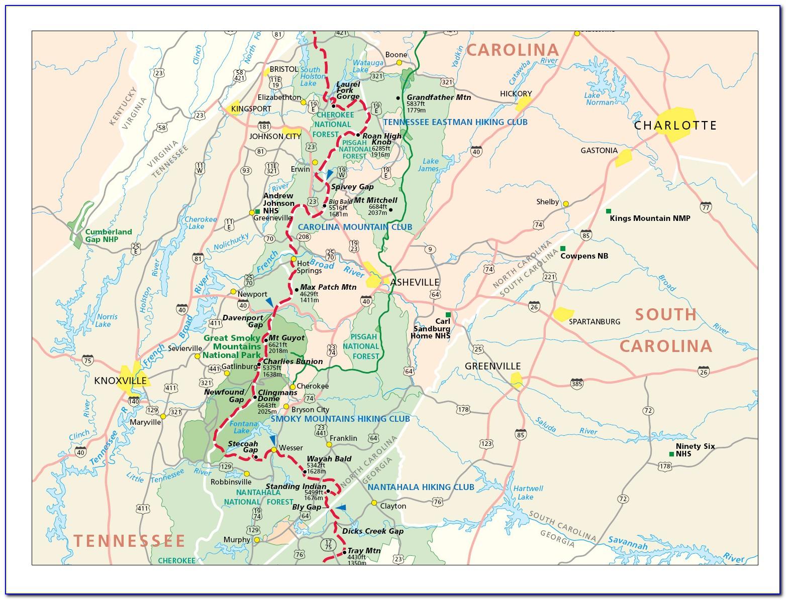 Map Of The Appalachian Trail In North Carolina
