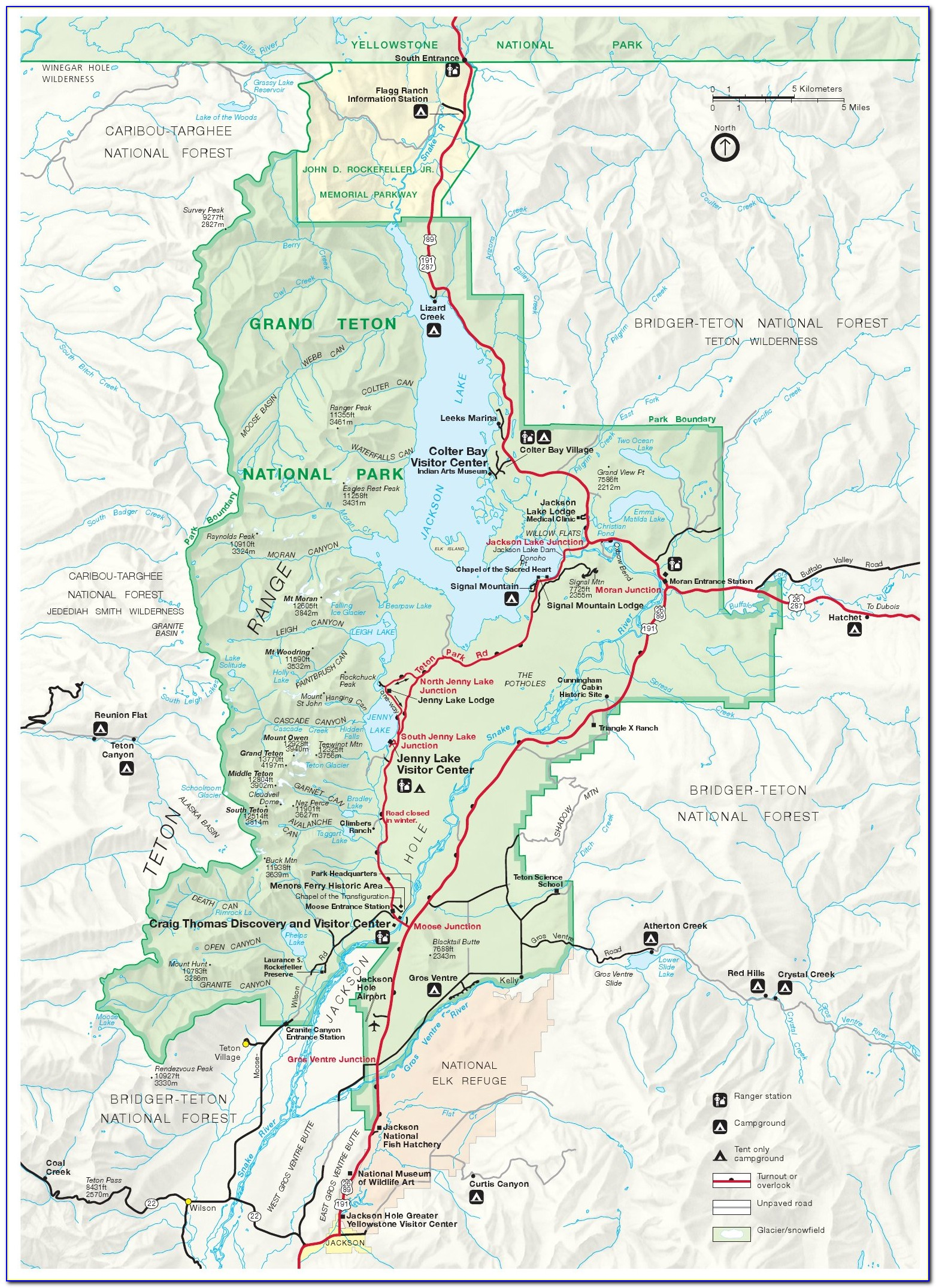 Map Of Yellowstone And Grand Teton Parks