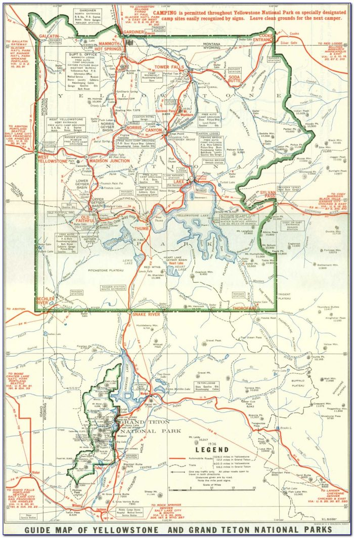 Map Of Yellowstone And Grand Tetons