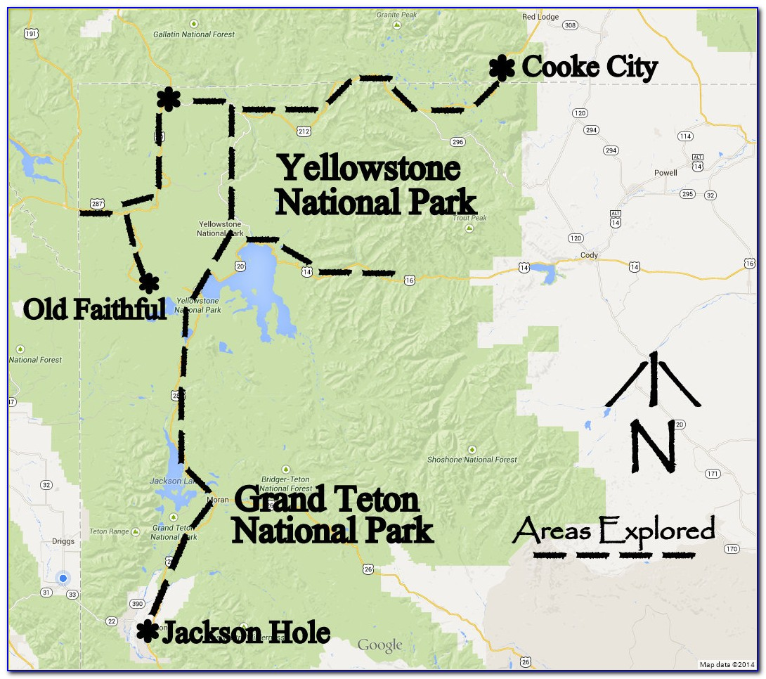 Map Of Yellowstone Grand Teton Loop