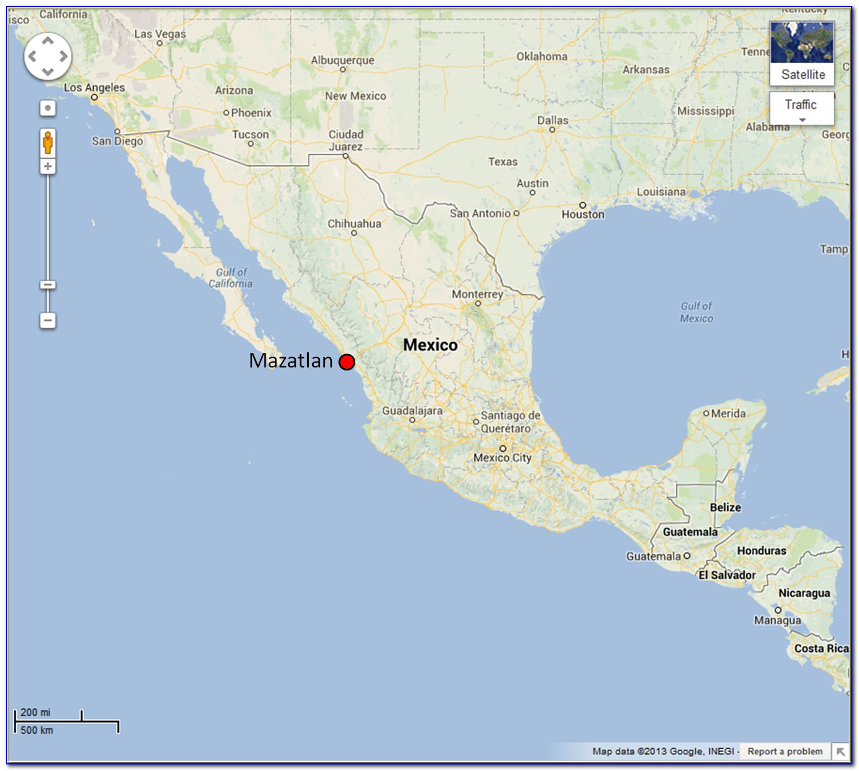 Map Showing Mazatlan Mexico