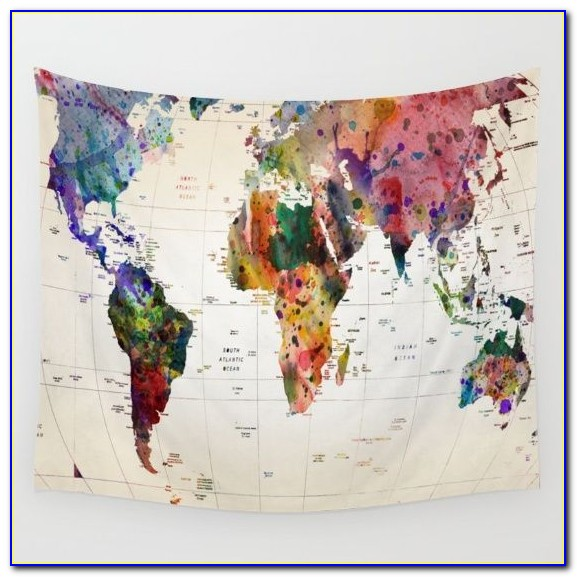 Map Tapestry Wall Hanging