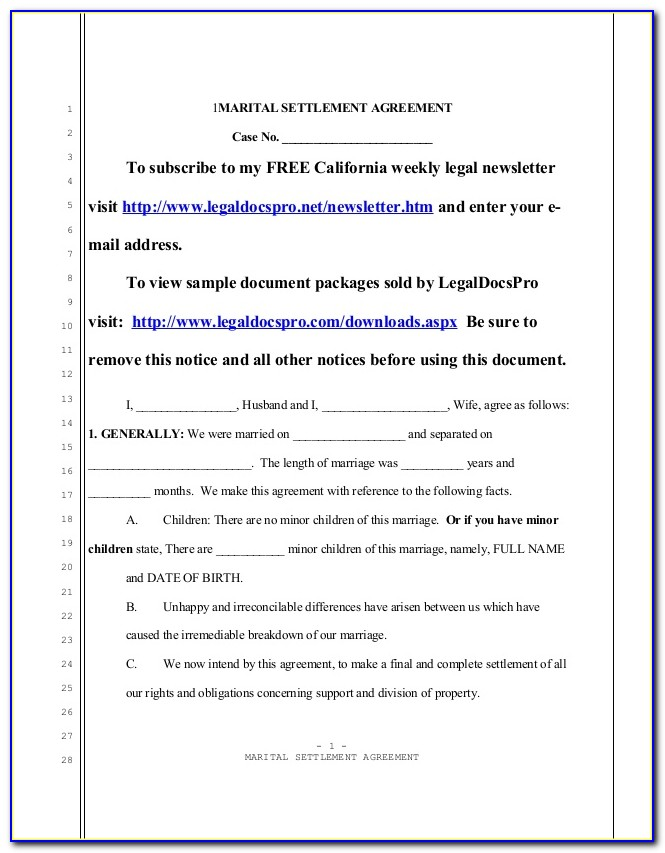 Marital Separation Agreement Form Maryland