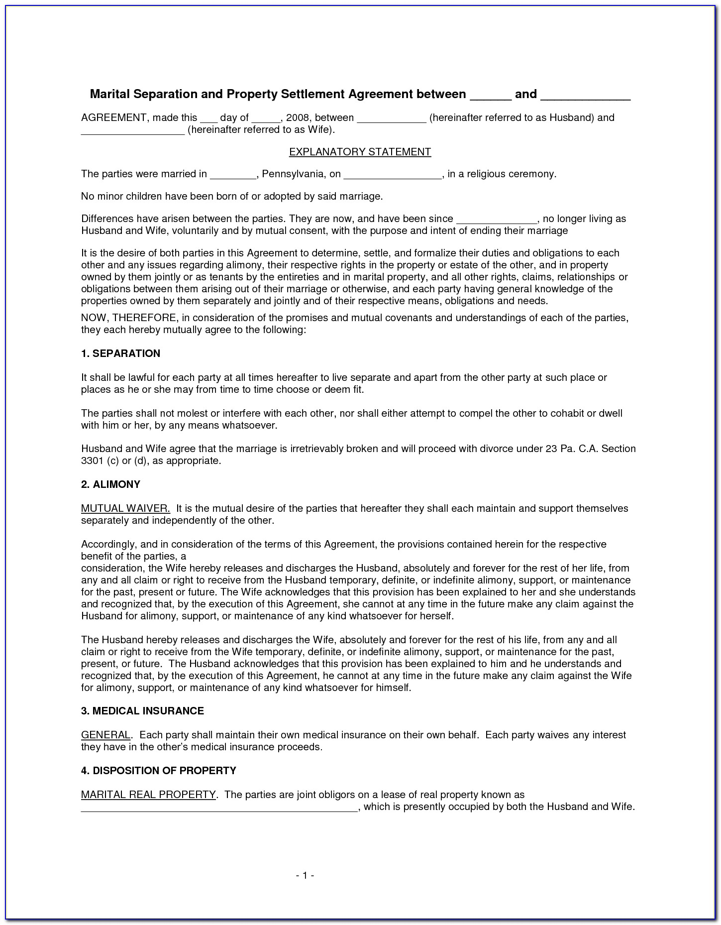 Marital Separation Agreement Form Pa