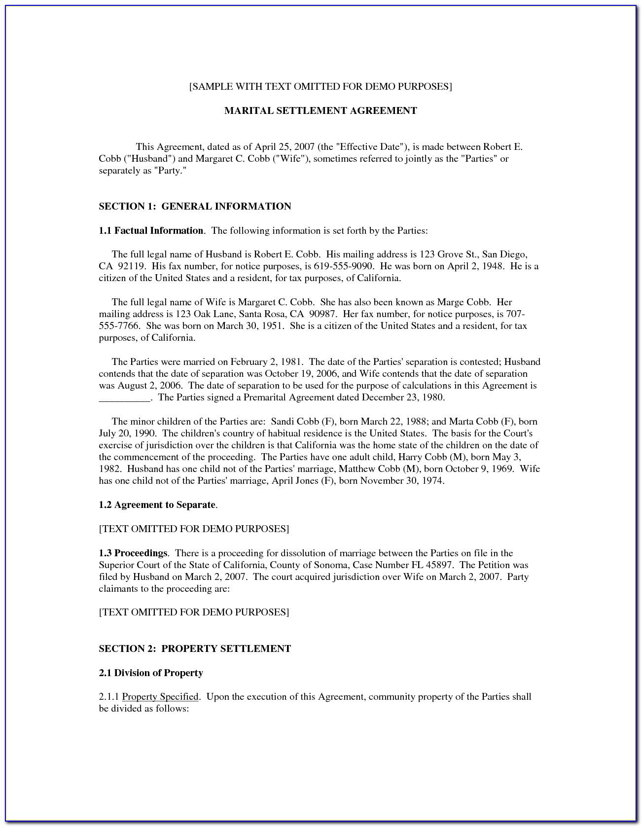 Marriage Separation Agreement Form California