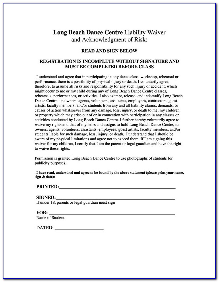 Martial Arts Medical Waiver Form