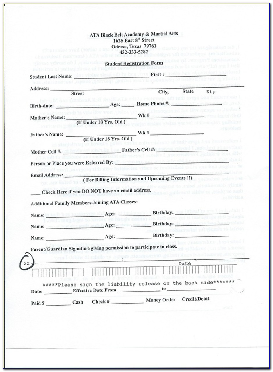Martial Arts Waiver Form