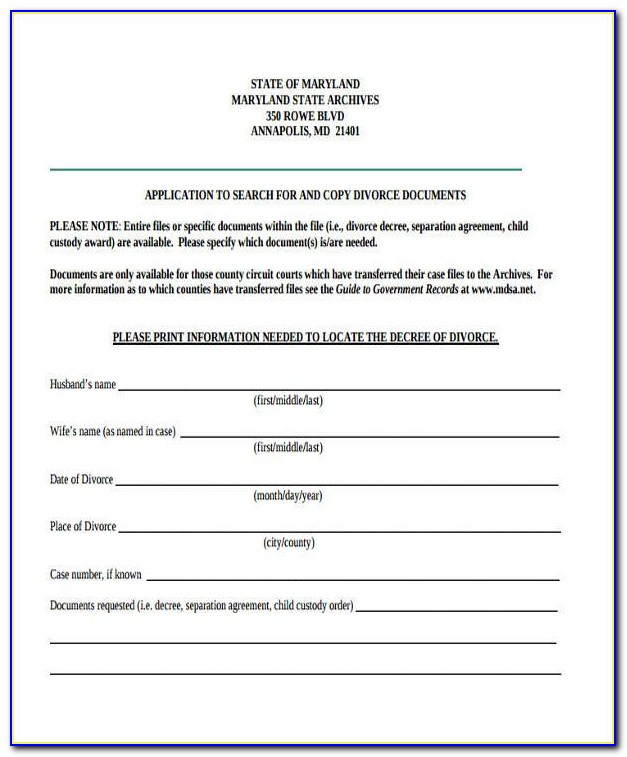 Maryland Legal Separation Forms
