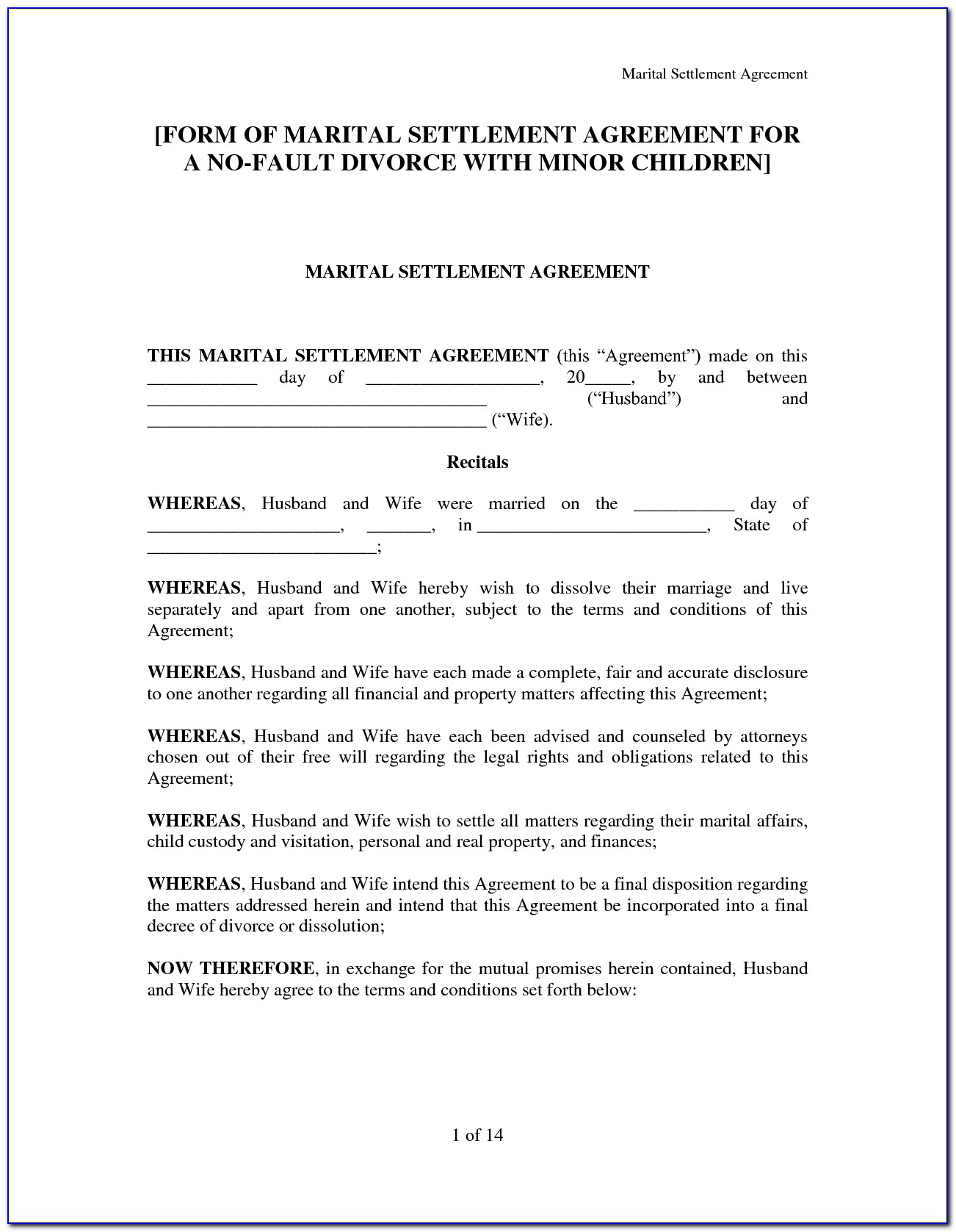 Maryland Marriage Separation Agreement Form