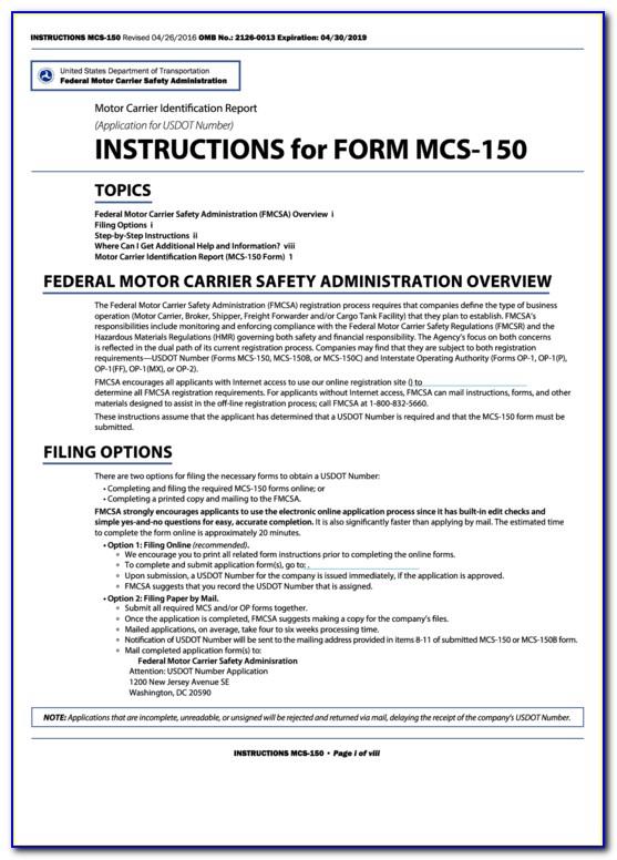 Mcs 150 Form Online