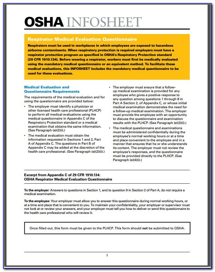 Medical Evaluation Form For Respirator Use