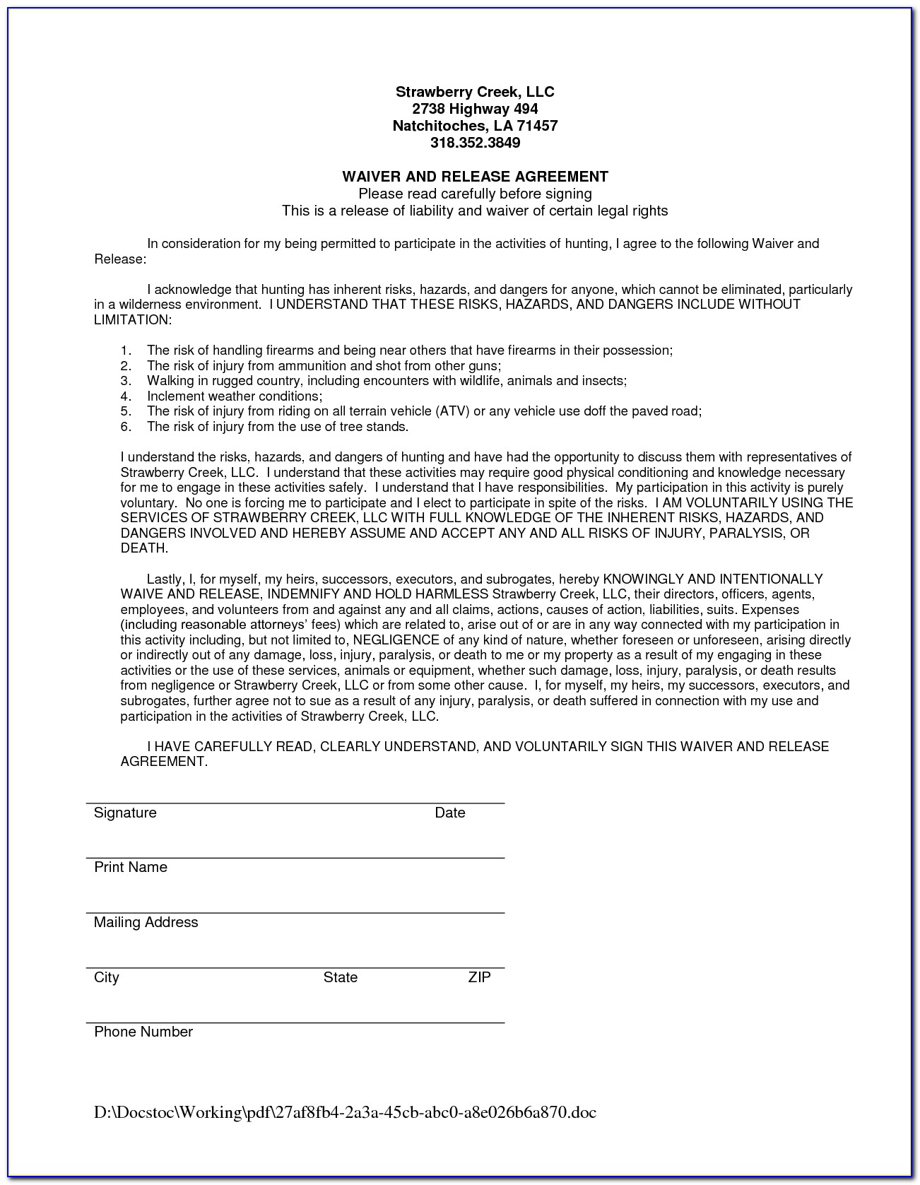 Medicare Advantage Plan Waiver Of Liability Form