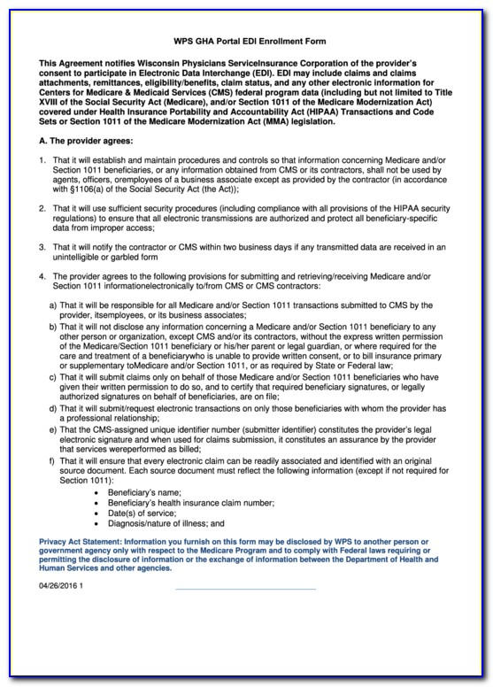 Medicare Edi Enrollment Form