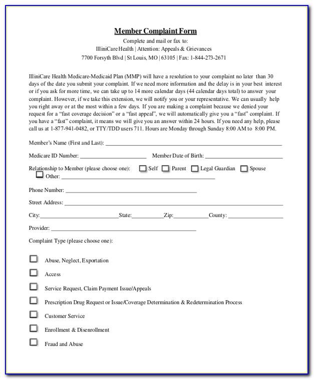 Medicare Formal Complaint