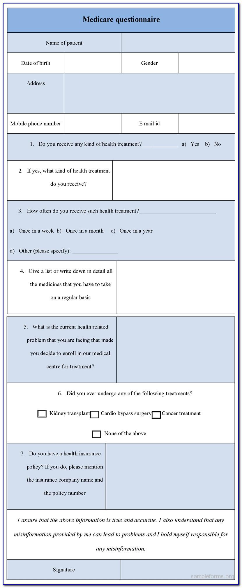 Medicare Questionnaire Form