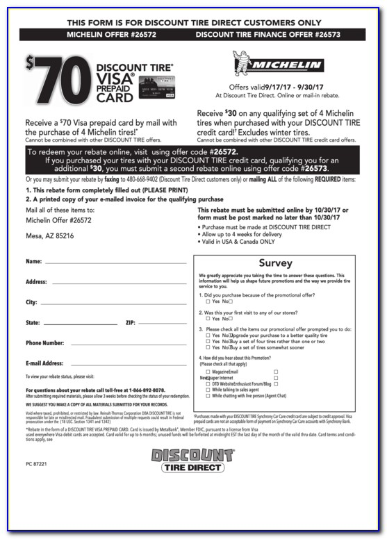 Michelin 70 Rebate Form