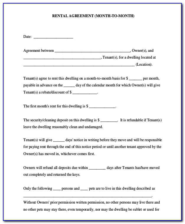 Month To Month Lease Form Wisconsin