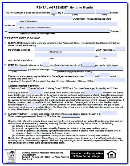 Month To Month Rental Agreement California Free Form