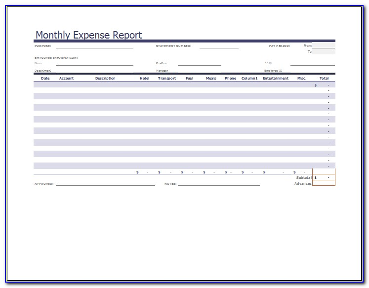 Monthly Expense Report Format