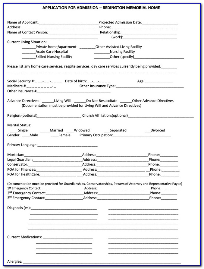 Morningside Assisted Living Job Application