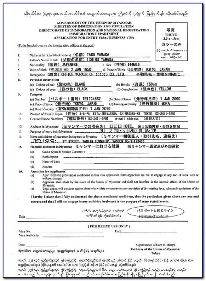 Myanmar Business Visa On Arrival Application Form