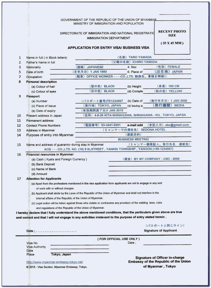 Myanmar Visa On Arrival Application Form