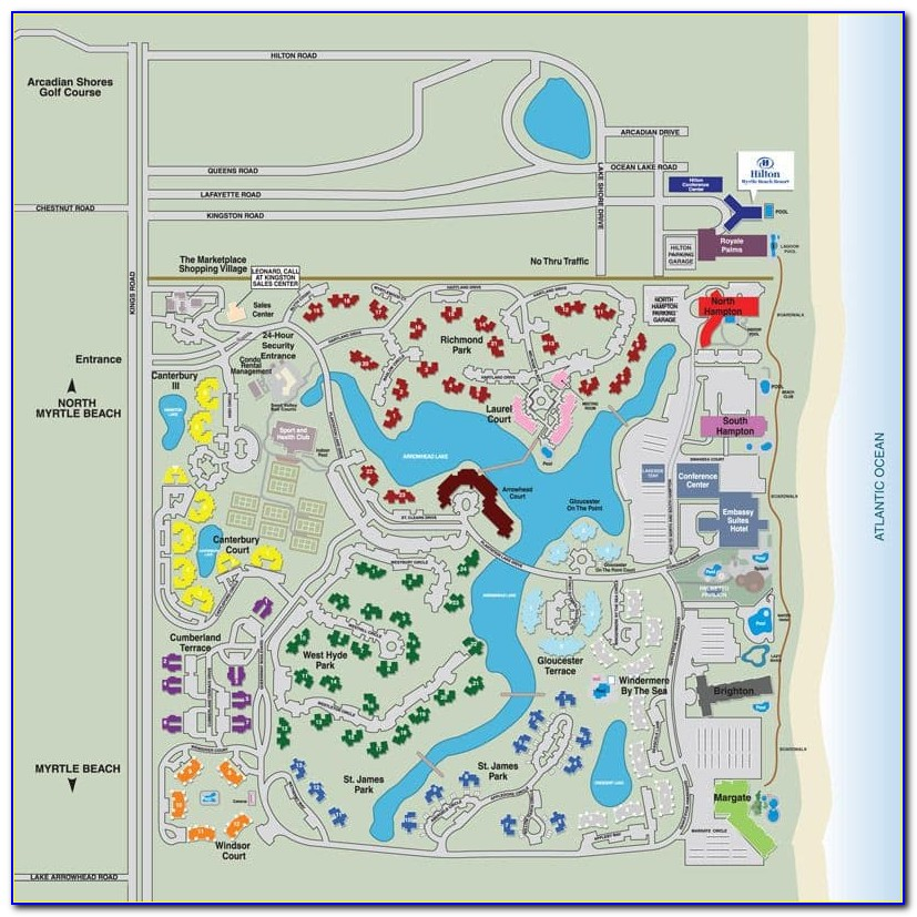 Myrtle Beach Hotel Location Map